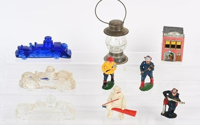 FIRE TOY LOT, LEAD FIREMAN & CANDY CONTAINERS