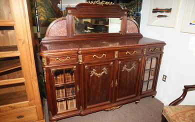 FRENCH CARVED WALNUT MIRROR-BACK SIDEBOARD WITH GILT-METAL MOUNTS, late 19th...