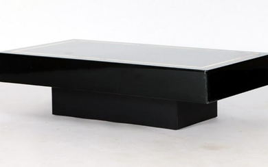 FRENCH PLASTIC AND BRASS INLAID COFFEE TABLE C1980