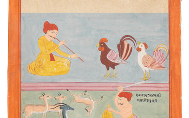 Five unusual paintings from a ragamala series, Rajasthan, perhaps Marwar, early 19th Century