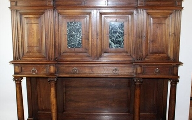 French neo-classical cabinet with marble plaques