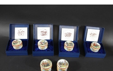 HALCYON DAYS ENAMEL BOXES - MILITARY DRUMS 4 boxes in the fo...