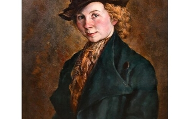"James Morey Hockey (1904-1990) British. ""Portrait of a Girl""..."