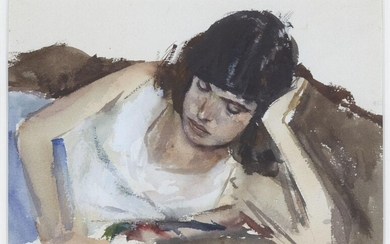John Pearce, British b.1942 - Girl Reading; watercolour on paper, signed and dated 'J.N. Pearce 11th Aug 75', 17 x 24.5 cm (ARR) Provenance: Michael Dickens; private collection Note: Michael Dickens (1943-2020) was a British art dealer, collector...