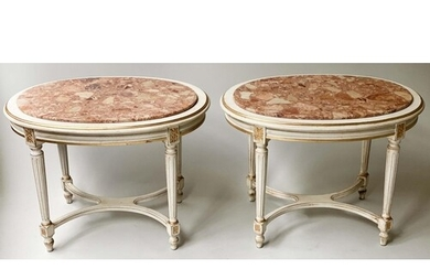 LAMP OCCASIONAL TABLES, a pair, Louis XVI design oval grey p...