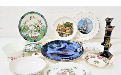 MIXED LOT OF CERAMICS including a pair of Carlton Ware blue ...