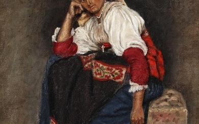 Marie Luplau: An Italian woman with a white head scarf. Signed with monogram, dated 1876. Oil on canvas. 33 x 29.5 cm – Bruun Rasmussen Auctioneers of Fine Art