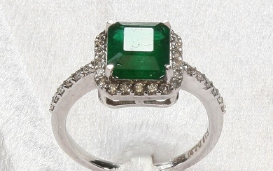 No Reserve Price-- 1.90 Ct Top Color Emerald - 14 kt. White gold - Ring - IGI Certified