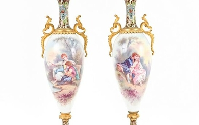 PAIR 19TH C. SEVRES STYLE MOUNTED PORCELAIN URNS