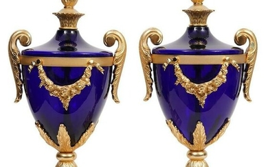 PAIR OF DORE BRONZE AND GLASS VASES