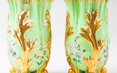 Pair of French Pale Green Ground Spill Vases