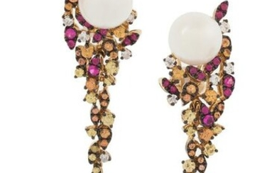 Pair of Pearl, Topaz and Diamond Earrings