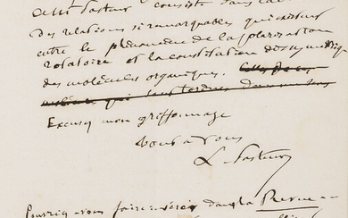 """Pasteur (Louis) Autograph letter signed """"L. Pasteur"""" to Charles Alexandre Drion, in French, Lille, 1856."""