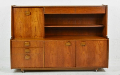 Rolling Mid Century Modern Cocktail Cabinet
