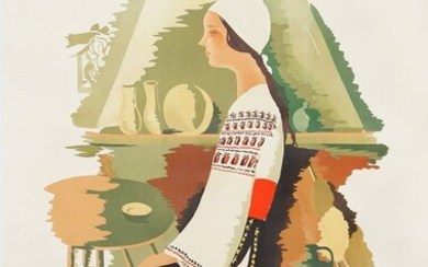 Romania, the land of folk art Poster canvas, signed in...