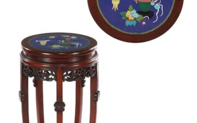 (-), Rosewood table with cloisonne inlaid decor in...