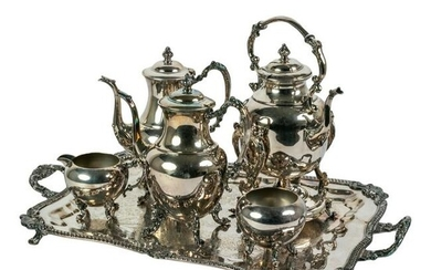 Silver on Copper Coffee & Tea Set with Butler Tray