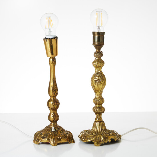 TABLE LAMPS, two pieces, second half of the 20th century, brass, rococo style.
