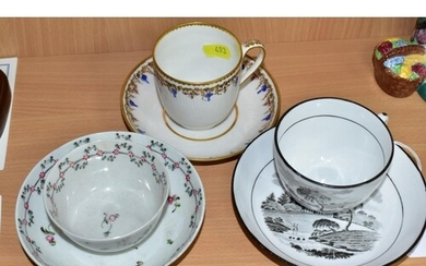 THREE LATE 18TH/EARLY 19TH CENTURY ENGLISH PORCELAIN CUPS AN...