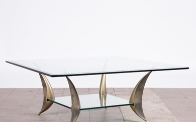 Table / coffee table, metal, glass, France, 1970s.