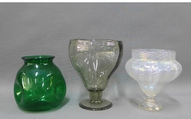 Three glass vases to include a Clutha style dimpled vase and...
