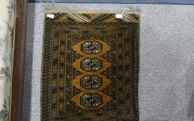 Tribal Rugs; a brown and plum ground prayer rug, 32in x 58in...
