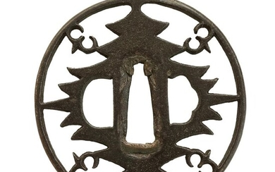 Tsuba (1) - Cast iron - big trees, wild gooses - Antique Tsuba for Samurai Sword (T-86) - Japan - Mid Edo period