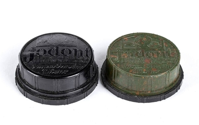 Two Jodont green and black boxes Bakelite, d. 6 cm...