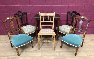 Two pairs of Edwardian nursing chairs, spindle back chair and a side table (6)