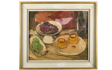 Victor Simonin (1877 - 1946), Still life with fruit and tableware XIX-XX secolo