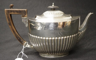 Victorian sterling silver teapot London 1893, maker's mark rubbed,...