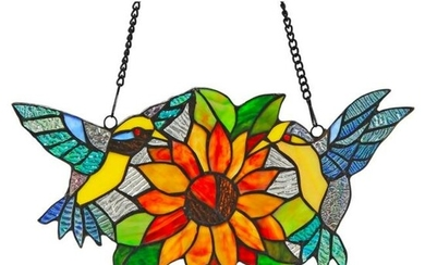 Yellow Birds Sunflower Stained Glass Hanging Panel