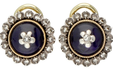 14K. Yellow gold antique clip earrings set with approx. 0.17 ct. diamond and Bristol glass....
