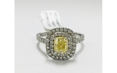 18ct white gold diamond halo style ring, 1.12ct fancy yellow...