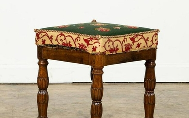 19TH C. REGENCY FOOT STOOL WITH NEEDLEPOINT
