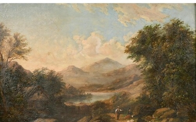 19th century English school, A highland landscape with a cat...