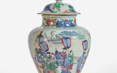 A Chinese wucai-decorated porcelain jar and cover 五彩盖罐 17th century 十七世纪