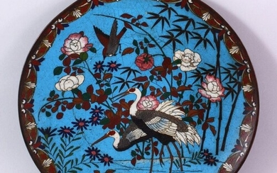 A JAPANESE MEIJI PERIOD CLOISONNE DISH, decorated with scene...