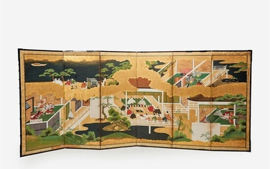 A Japanese Tosa school six-fold screen Edo period, 18th...