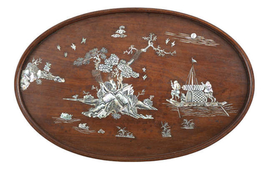 §A MOTHER OF PEARL INLAID WOODEN TRAY Vietnam,...