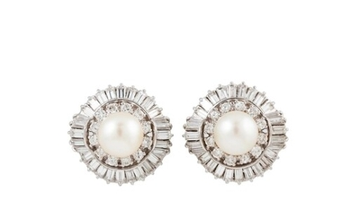 A PAIR OF DIAMOND AND PEARL CLUSTER EARRINGS, the central pe...