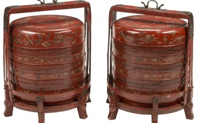 A Pair of Chinese Lacquer Stacking Wedding Baske