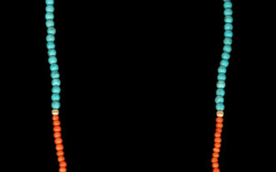 A TURQUOISES AND CORAL NECKLACE