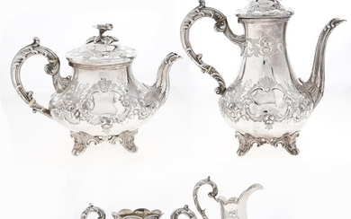 A Victorian silver tea and coffee service, of baluster form ...