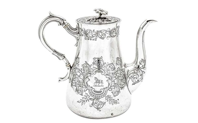 A Victorian sterling silver coffee pot, Sheffield 1855 by Hawkesworth, Eyre & Co