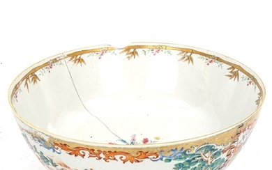 A large Chinese 18th century porcelain bowl, hand painted an...