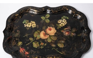 A large Victorian tole-ware tray: of cartouche-shaped outlin...