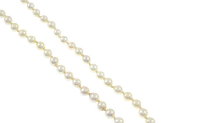 A mid 20th century graduated cultured pearl necklace.