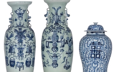 A pair of Chinese blue and white on celadon vases, 19thC, H 58,5 cm; added a blue and white 'Double Xi' covered vase, 19thC, H 42,5 cm