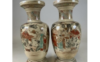 A pair of large decorative Japanese satsuma vases with hand ...
